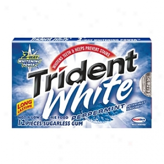 Trident White Sugarless Gum 12-pack Carton, Peppermint