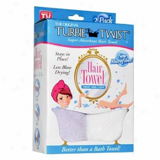 Turbie Twist Microfiber Super Absorbent Hair Towe,l Twin Pack, Assorted