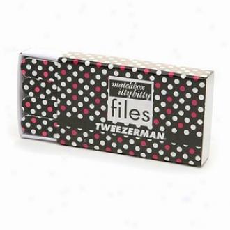 Tweezerman Matchbox Itty Bitty Files, Black With Pink & Happy Dots