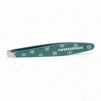 Tweezerman Mini Oval Slant Tweezer, Gre3n With White Snowflakes