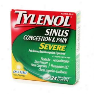 Tylenol Sinus Severe Congestion & Pain, Daytime Caplets,  Cool Burst