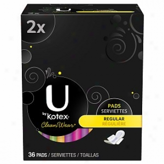U By Kotex Cleanwear Ultra Thin Pads With Wings, Double Pack, Regular, 36 Ea