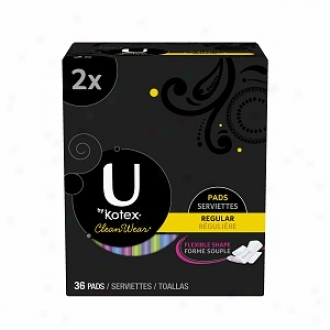 U By Kotex Cleanwear Ultraist Thin Pads With Wings, Double Gang, Reguiar, 35 Ea