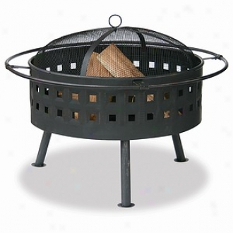 Uniflame Aged Bronze Outdoor Firebowl With Lattice Design
