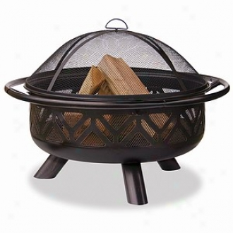 Uniflame Oil Rubbed Bronze Outdoor Firebowl With Geometric Design