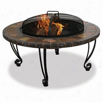 Uniflame Slatemarble Exterior Firebowl With Copper Accenfs