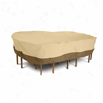 Veranda Collection Patio Table And Cair Set Cover Large Rectangular/oval, Pebble, Bark And Earth