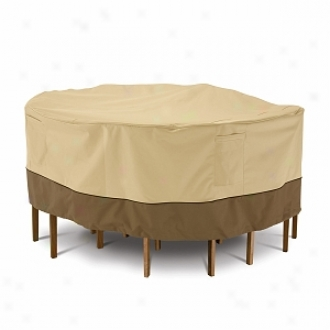 Veranda Collection Patio Table And Chaif Set Cover Large Round, Pebble, Bark And Earth