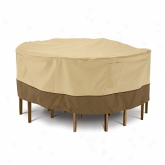 Verandaa Collection Patio Slab And Chair Set Cover Medium Round, Pebble, Bark And Earth