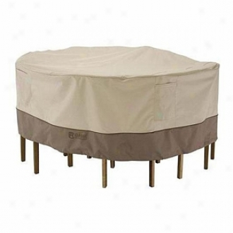 Veranda Collection Patio Table And Chair Set Cover Small Round, Pebble, Bark And Earth