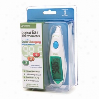 Veridian Digital Ear Thermometer With Color Changing Display Readout