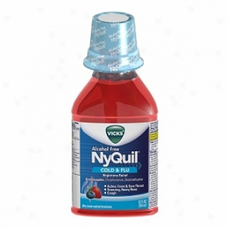 Vicks Nyquil Alcohol Loose Cold & Flu Nighttime Relief Liquid, Soothing Berry Flavor