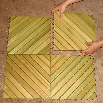 Vifah Deck Tiles 12 Slat Diagonal 10 Tiles Box Premium Plantation Teak