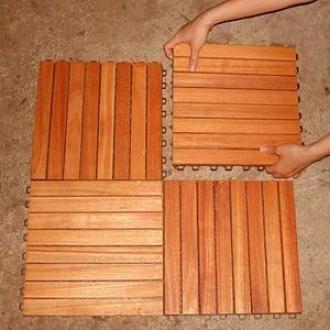 Vifah Deck Tiles 8 Slat Straight 10 Tiles Box Fsc Eucalyptus Hardwood