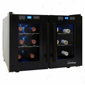 Vinotemp 12-bottle Dual-zone Thermoelectric Wine Cooler
