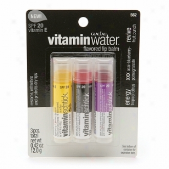 Vitamin Water Flavored Lipbalm, Variety Pack, Spf 20, Energy, Xxx, Revive