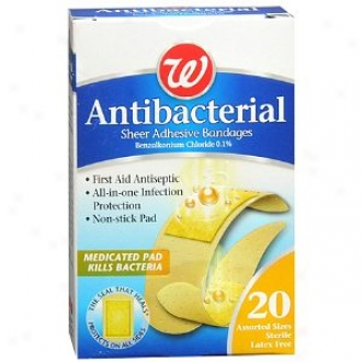 Walgreens Antibacterial Sheer Adhesive Bandages, Of various sorts Sizes