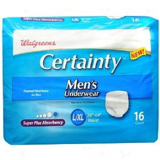 Walgreens Certainty Men's Underwear Super Plus Absorbency, Bigness L/xl