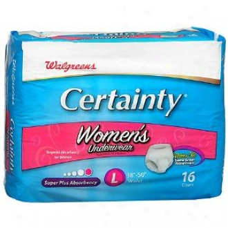 Walgreens Certainty Wome&'s Underwear, Super Plus Absorbency, Large