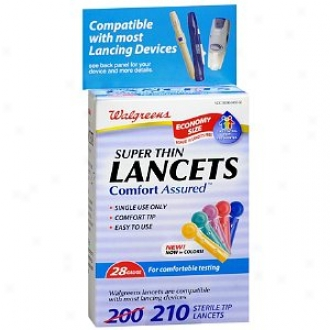 Walgreens Comfort Assured Colored Super Thin 28 Gauge Sterile Tip Lancets