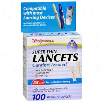 Walgreens Comfort Assured Super Thin 28 Gauge Sterile Tip Lancets