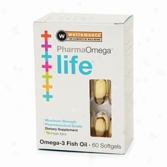 Wellements Pharmaomega Life Omega-3 Fish Oil Softgels, Freqh Invent