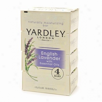 Yardley London Savon Moisturizing Bar,  4.25 Oz Bars, English Lavender With Essential Oils