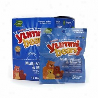 Yummi Bears Multi-vitamin & Mineral Daily Nutrition Packs For Kids, Natural Fruit