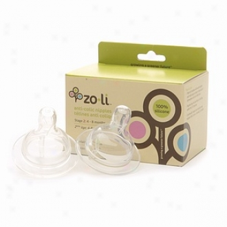 Zoli Stage 2 Replacement (4-8 Mos.) Anti Colic Silicone Nipple, Set Of 2