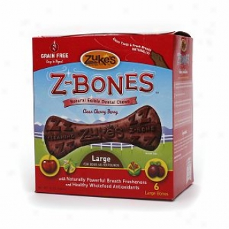 Zuke's Z-bones,  Natural Edible Dental Chews, Large Bones, Clean Cherry Berry